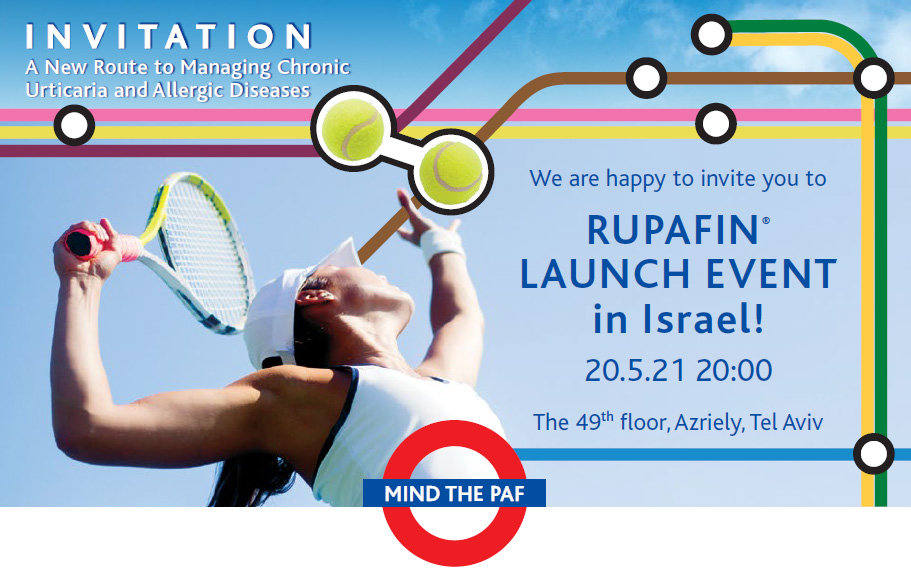 RUPAFIN® LAUNCH EVENT in Israel! | 20.05.2021 | 20:00 | The 49th floor, Azriely, Tel Aviv